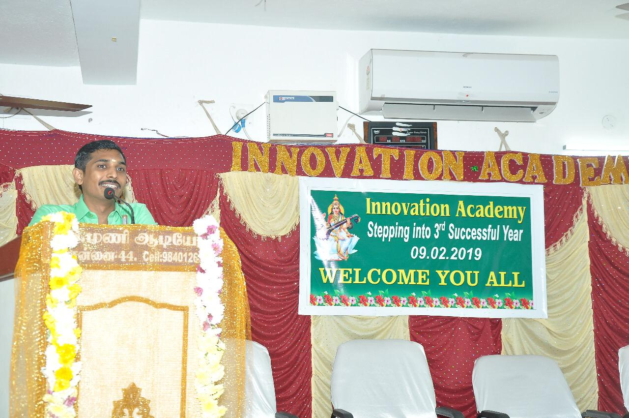 Addressing the students at Innovation academy on 3rd successful year completion